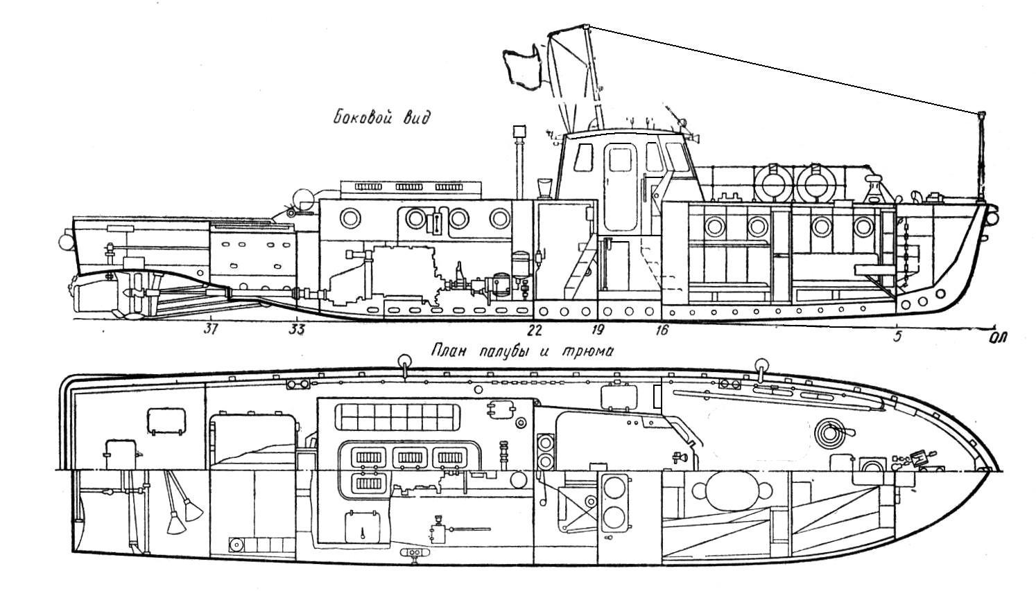 Схема буксирного судна